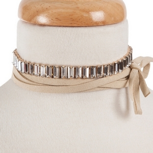 """Tan faux suede wrap choker necklace with clear rectangle rhinestones. Approximately 80"""" in length."""