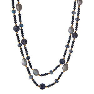 """Gold tone and blue beaded necklace with freshwater pearls and sodalite natural stones. Approximately 48"""" in length. Handmade in the USA."""