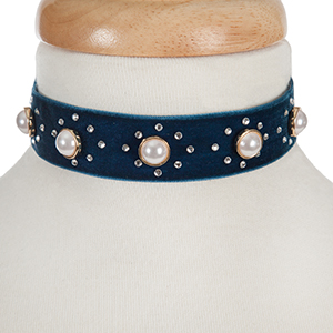 "Navy velvet choker with pearl beads and clear rhinestone accents. Approximately 12"" in length and 1"" in width."