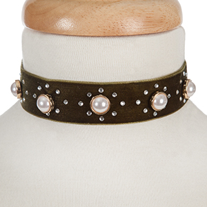 "Olive velvet choker with pearl beads and clear rhinestone accents. Approximately 12"" in length and 1"" in width."