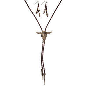 "Brown braided cord bolero necklace set with a cow skull focal and matching fishhook earrings. Approximately 36"" in length."