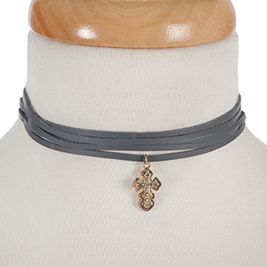 """Gray, faux leather wrap necklace with a gold tone cross pendant, accented by clear rhinestones. Approximately 74"""" in length."""