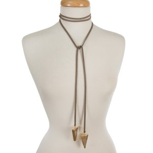 """Gray faux suede wrap necklaces with beige natural stones on the ends. Approximately 66"""" in length."""