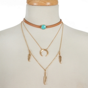 """Brown faux leather, layered choker with a turquoise stone, a gold tone layer with a crescent pendant and a layer with feather pendants. Approximately 12"""" to 16"""" in length."""