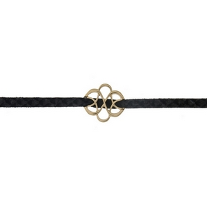 "Black faux suede choker with a gold tone swirl focal. Approximately 12"" in length."