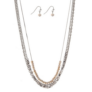 "Silver tone multi layer necklace set with opal faceted beads and matching fishhook earrings. Approximately 16"" in length."