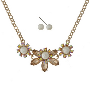 """Gold tone necklace set with topaz, iridescent, and pearl stones and matching stud earrings. Approximately 16"""" in length."""