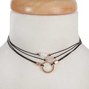 "Three piece choker set with gold tone accents, a freshwater pearl bead, and a gray bead. All approximately 12"" in length."