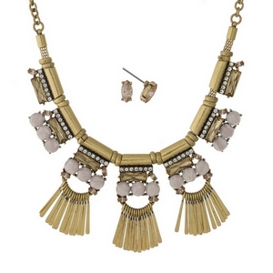 """Gold tone necklace set with pink, champagne, and clear stones, accented with metal fringe and matching stud earrings. Approximately 16"""" in length."""