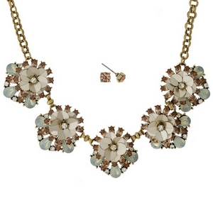"""Gold tone necklace set with champagne, peach and opal rhinestone and sequin flowers, and matching stud earrings. Approximately 16"""" in length."""