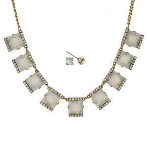 """Gold tone necklace set with pearlized white squares, accented with clear rhinestones and matching stud earrings. Approximately 16"""" in length."""