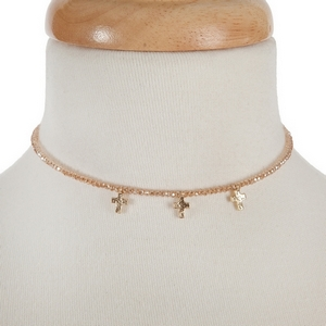 """Topaz beaded wire choker with a hammered cross charms and a 3"""" extender."""