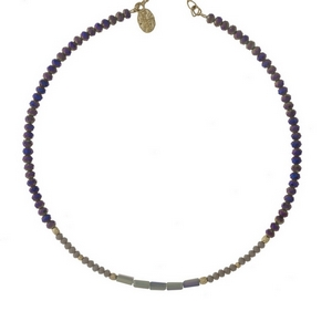 """Gray and iridescent beaded, memory wire choker with gold tone accents and a 3"""" extender."""