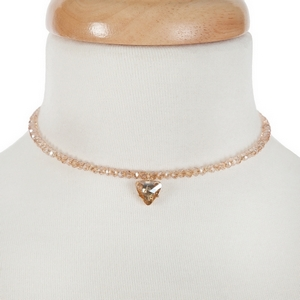 """Topaz beaded wire choker with a topaz rhinestone pendant and a 3"""" extender."""