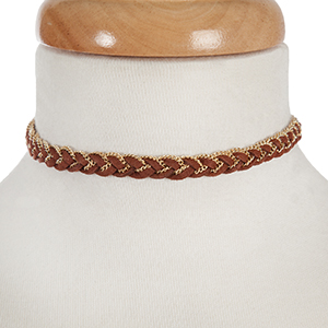 """Brown faux suede and gold tone braided choker with an adjuster in the back. Approximately 12"""" in length."""