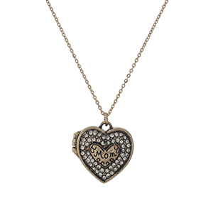 "Gold tone necklace with a working locket, stamped with ""Mom"" and accented with clear rhinestones. Approximately 16"" in length."