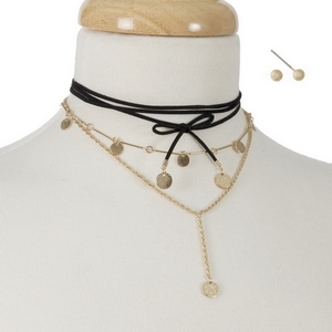 """Black faux suede and gold tone, wrap choker necklace with matching stud earrings. Approximately 12"""" in length."""