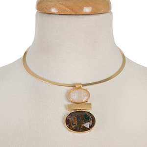 "Gold tone metal choker with a pink and neutral two stone pendant. Approximately 5.5"" in diameter."