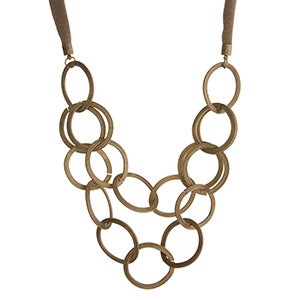 "Gold tone and beige statement necklace. Approximately 20"" in length."