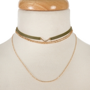 """Olive green and gold tone two piece, layered choker set with clear rhinestone accents. Approximately 12"""" in length."""