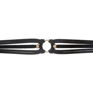 "Black faux leather choker with a gold tone circle focal. Approximately 12"" in length."