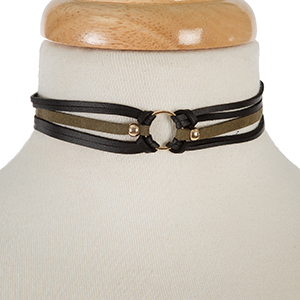 "Black and olive green faux leather choker with a gold tone circle focal. Approximately 12"" in length."