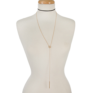 "Black faux leather and gold tone layered lariat choker. Approximately 12"" in length."