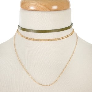 """Olive green and gold tone two piece, layered choker set. Approximately 12"""" in length."""
