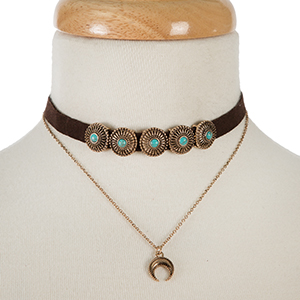 "Brown and gold tone layered choker with turquoise stones and a dainty crescent pendant. Approximately 12"" in length."