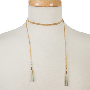 "Dainty gold tone wrap necklace with natural stones on the ends. Approximately 52"" in length."