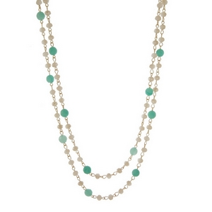 """Gold tone wrap necklace with ivory and aqua beads. Approximately 60"""" in length."""