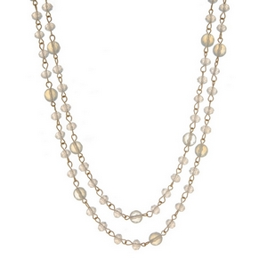 """Gold tone wrap necklace with clear and opal beads. Approximately 60"""" in length."""