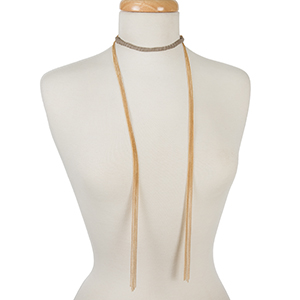 "Gold tone open wrap necklace with a gray suede wrapped choker. Approximately 72"" in length."