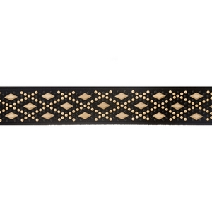 "Black and gold tone elastic choker. Approximately 12"" in length and 1.25"" in width."