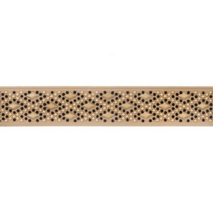 "Black, beige and gold tone elastic choker. Approximately 12"" in length and 1.25"" in width."