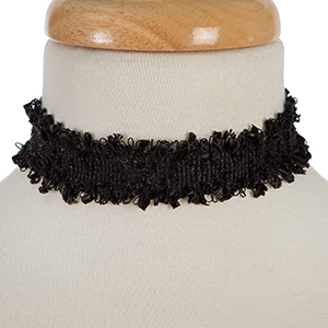 "Black fabric choker. Approximately 12"" in length 1"" in width."