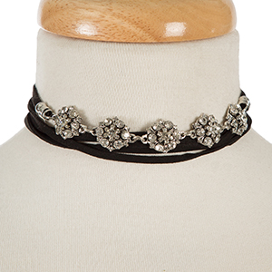 "Black faux suede and silver tone wrap necklace with clear rhinestones. Approximately 74"" in length."