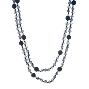 """Navy and light blue necklace with natural stone and faceted beads. Approximately 38"""" in length. Handmade in the USA."""