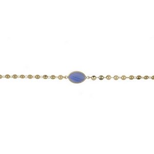 "Dainty gold tone choker with a light blue stone focal. Approximately 12"" in length."