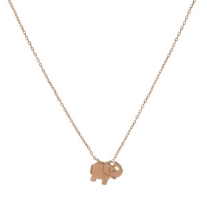 "Dainty rose gold necklace with an elephant pendant. Approximately 14"" in length."