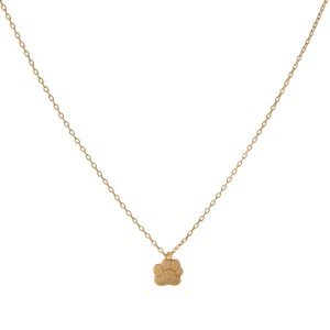 "Dainty gold tone necklace with a paw print pendant. Approximately 14"" in length."