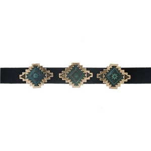 "Black faux suede choker with gold tone and patina bohemian focals. Approximately 12"" in length."