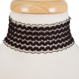 """Black fabric choker with gold tone stud earrings. Approximately 2"""" in width and 12"""" in length."""