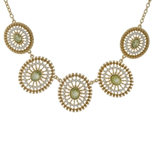 """Gold tone necklace with five yellow, filigree circles and yellow rhinestones. Approximately 18"""" in length."""