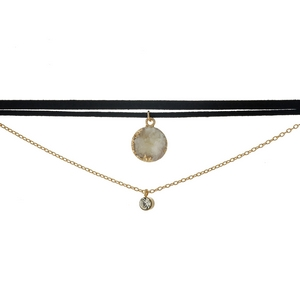 """Black faux suede choker featuring a gold tone layer, clear rhinestone, and a white druzy stone. Approximately 12"""" and 13"""" in length."""
