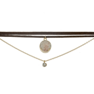 """Brown faux suede choker featuring a gold tone layer, clear rhinestone, and a white druzy stone. Approximately 12"""" and 13"""" in length."""