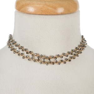 """Gold tone, wire wrapped, two layer gray beaded choker with matching stud earrings. Approximately 12"""" in length."""