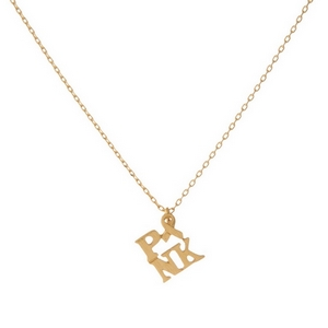 "Dainty gold tone necklace featuring a small pendant that reads ""PINK"" with a breast cancer awareness symbol. Pendant is approximately 7mm. Length adjusts from 16""-18""."