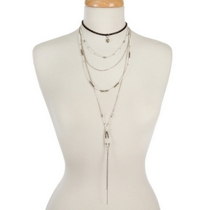 """Silver tone layered choker necklace with gray and white beaded accents and a black braided layer. Measures approximately 12"""" to 30"""" in length."""