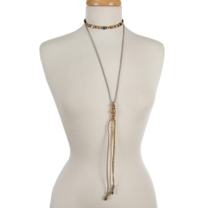 """Gray faux suede two layer choker with tan and brown beads and gold tone accents. Approximately 12"""" and 27"""" in length."""
